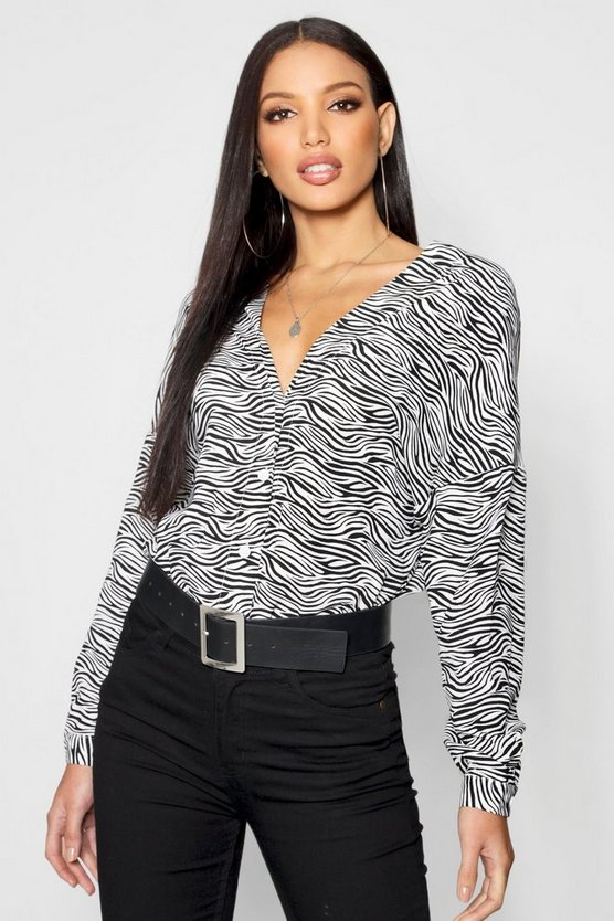 Zebra Print Collarless Shirt
