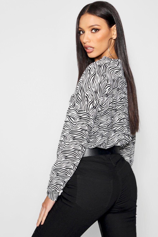 Shirt Zebra Collarless Print Print black Zebra Collarless Shirt black 6wvq6a0