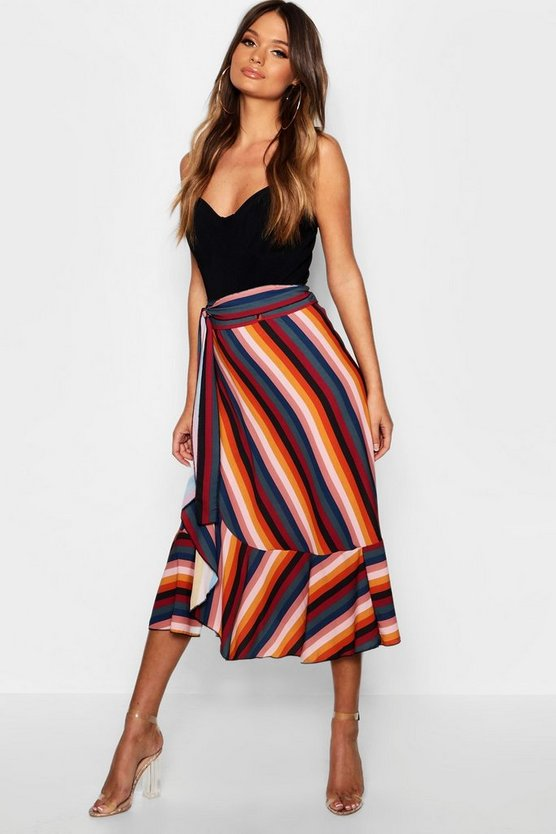 Womens Red Stripe Ruffle Detail Midi Skirt