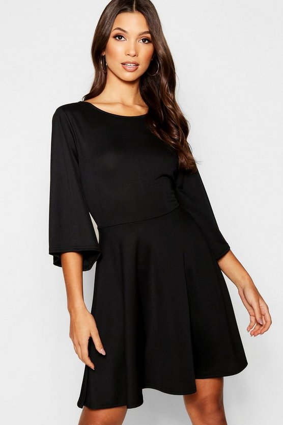 Womens Angel Sleeve Tie Belt Skater Dress