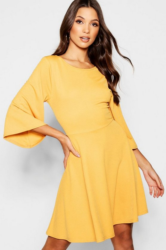 Angel Sleeve Tie Belt Skater Dress
