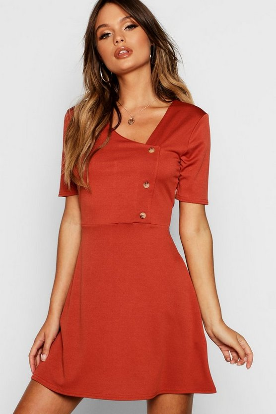 Horn Button Short Sleeve Skater Dress
