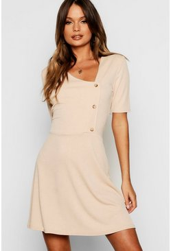 Womens Stone Horn Button Short Sleeve Skater Dress