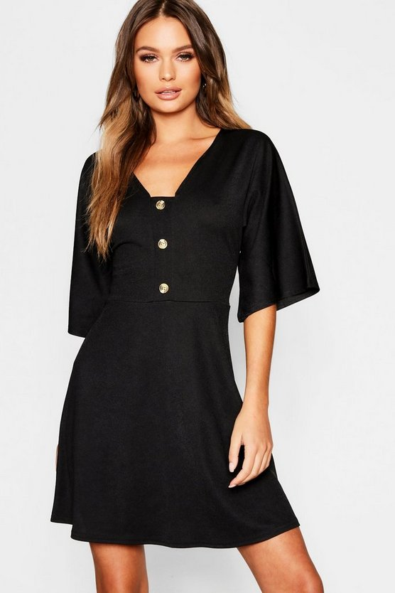 Womens Black Horn Button Wide Sleeve Skater Dress