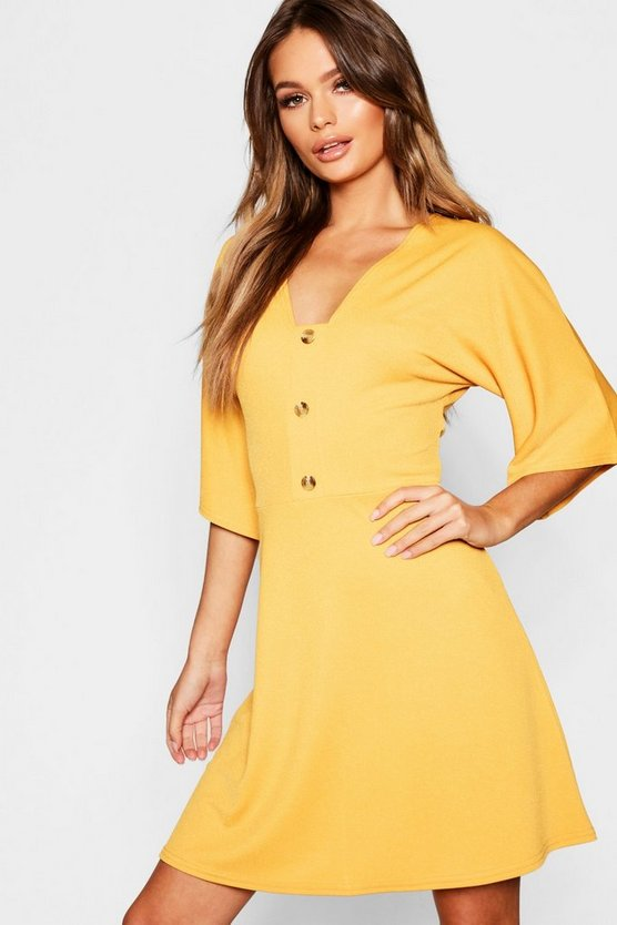 Horn Button Wide Sleeve Skater Dress