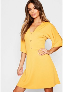 Womens Mustard Horn Button Wide Sleeve Skater Dress