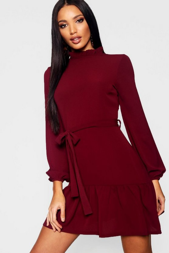 Woven Ruffle Detail Neck Tie Waist Skater Dress