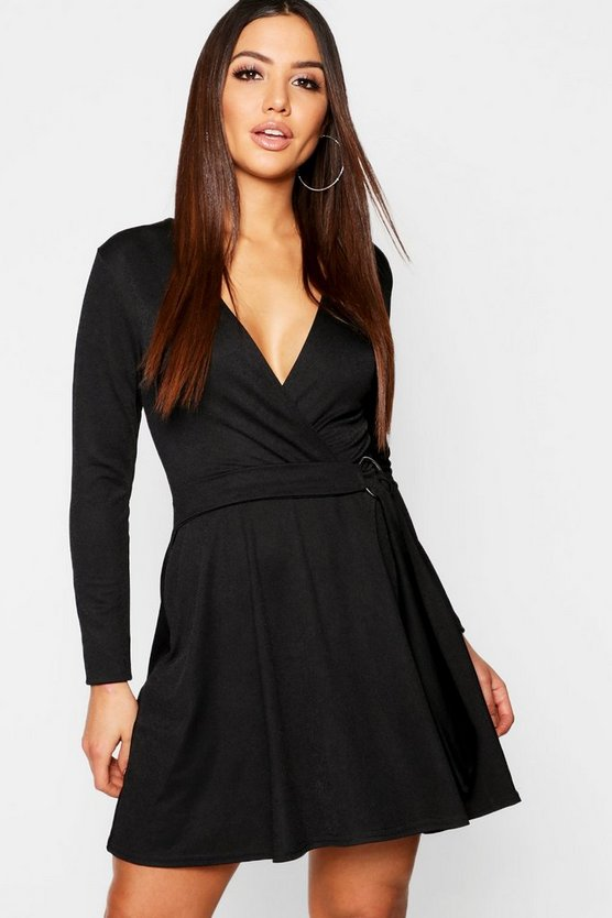 Wrap O Ring Detail Skater Dress