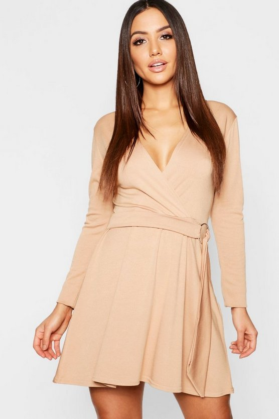 Womens Camel Wrap O Ring Detail Skater Dress