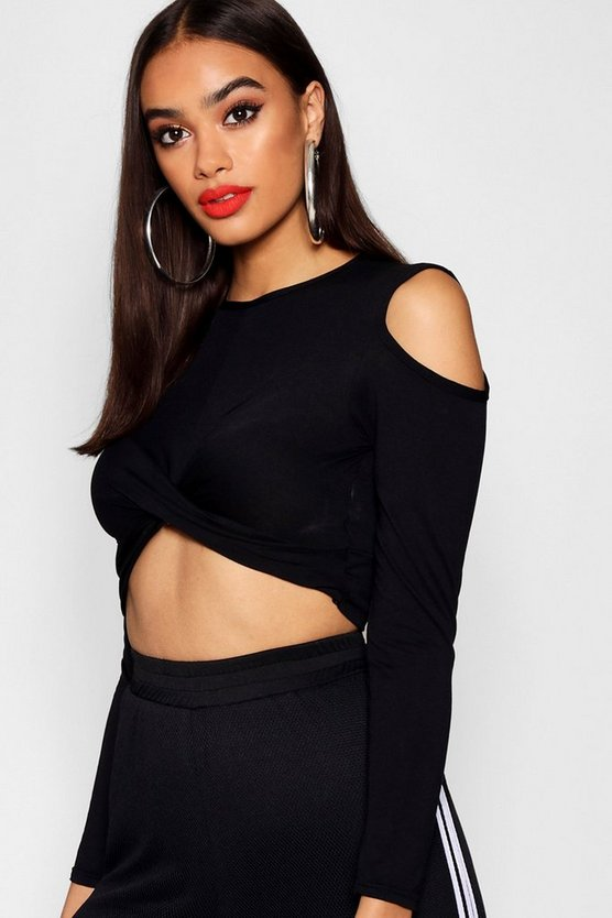 Womens Black Cold Shoulder Twist Front Top