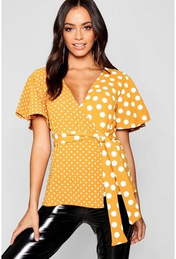 Womens Mustard Spliced Spot Wrap Top