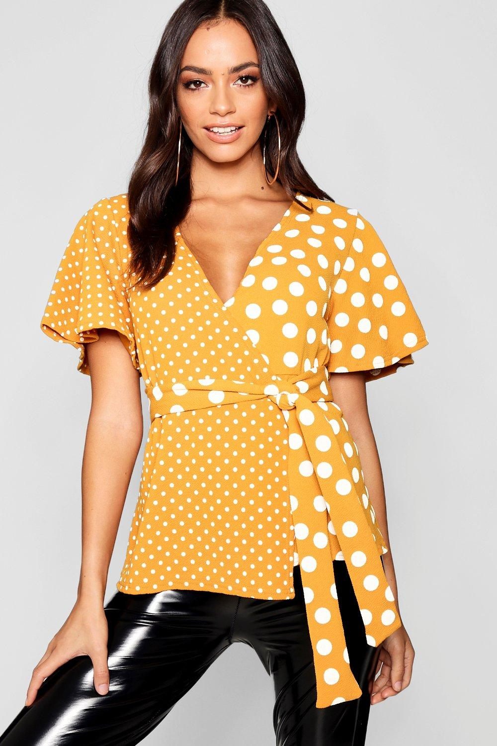 mustard Spot Wrap Spliced Top Spliced Spot 8wvqav