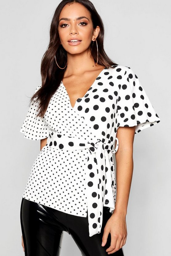 Spliced Spot Wrap Top