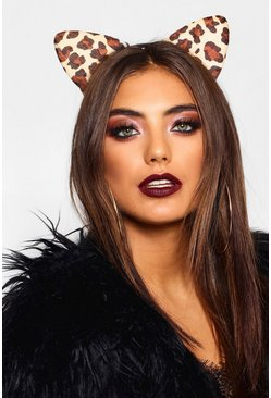 Womens Brown Halloween Leopard Cat Ears