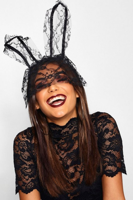Lace Veil Bunny Ears, Black, Donna