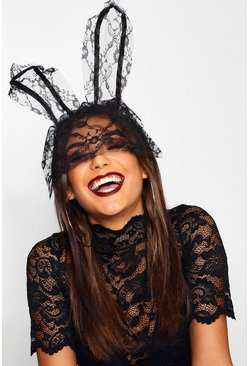 Lace Veil Bunny Ears, Black, ЖЕНСКОЕ