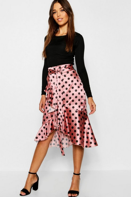 Satin Wrap Polka Dot Midi Skirt