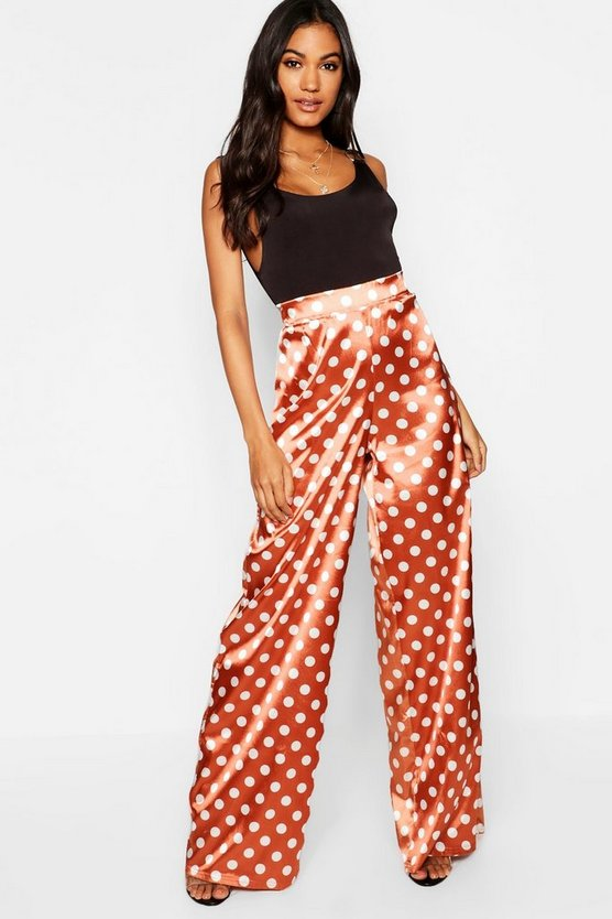 Polka Dot Satin Wide Leg Trousers