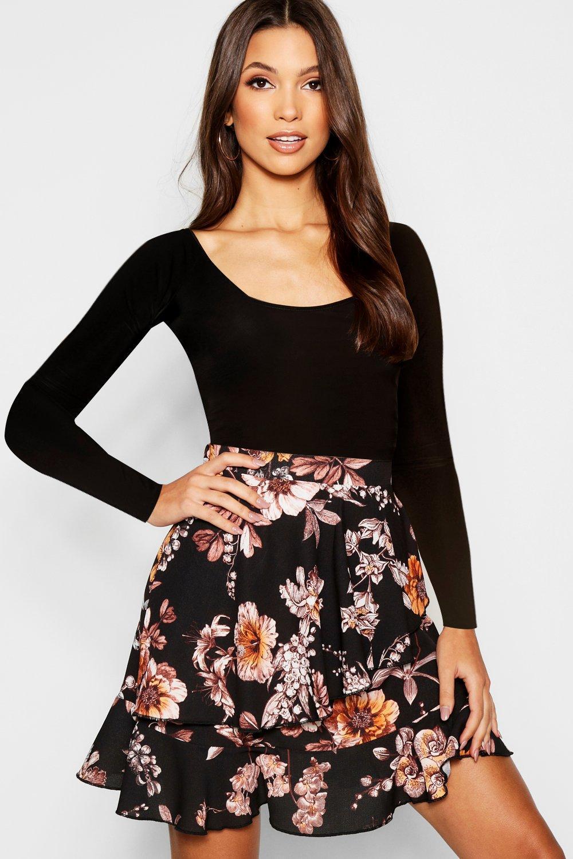 Floral Wrap Ruffle Mini Skirt