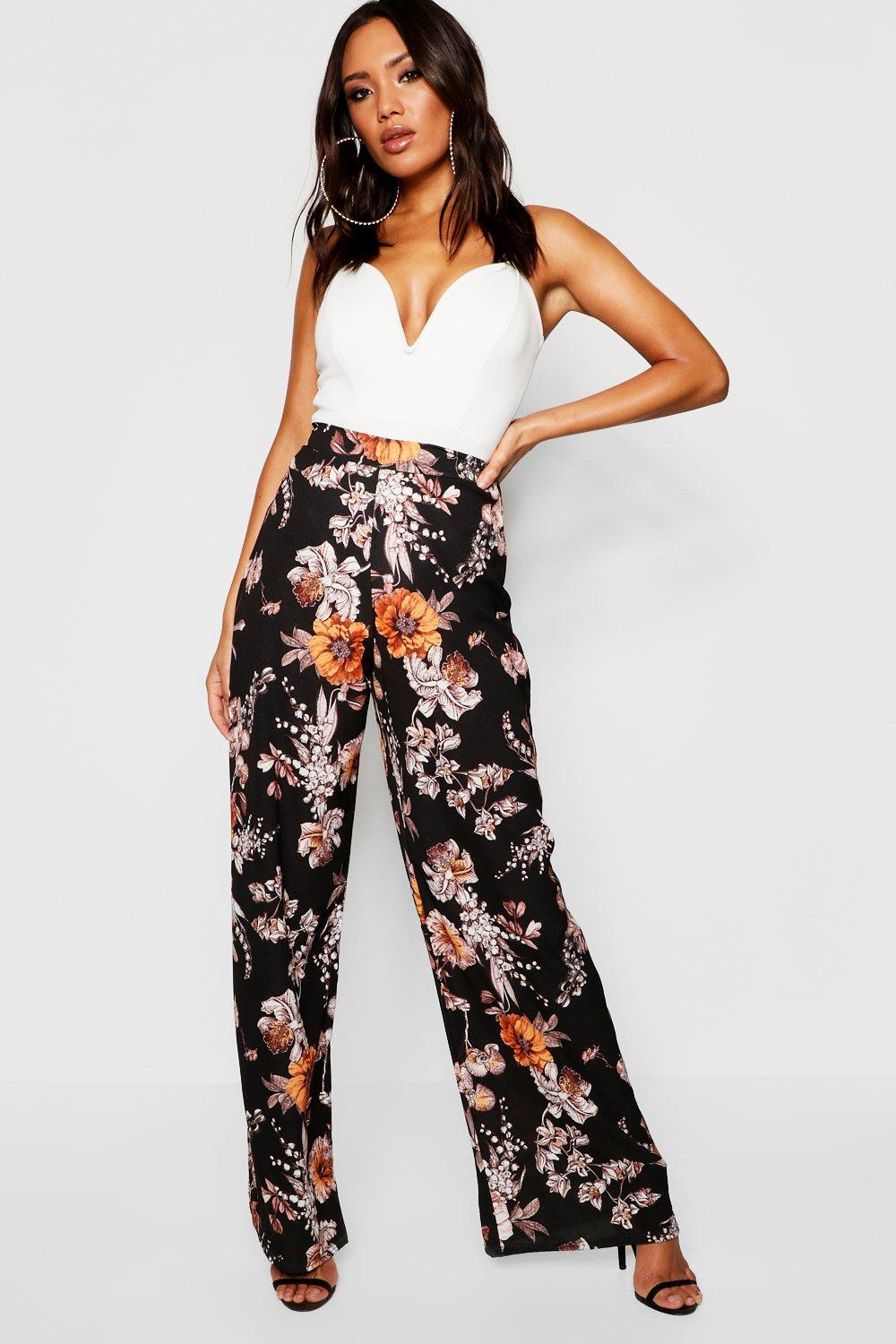 300dfc7a7995 Womens Black Woven Floral Wide Leg Trousers. Hover to zoom