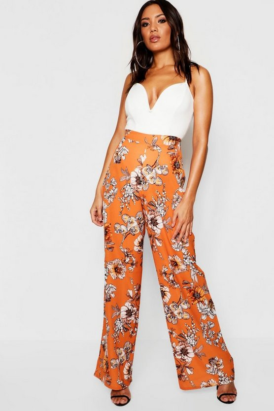 Woven Floral Wide Leg Trousers