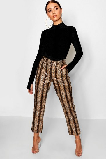 Chocolate PU Snake Print Slim Leather Look  Fit Trousers