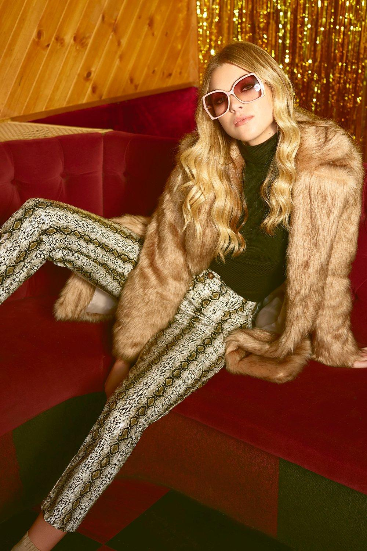 Vintage High Waisted Trousers, Sailor Pants, Jeans Womens Pu Snake Print Slim Leather Look Fit Pants - beige - M $27.00 AT vintagedancer.com