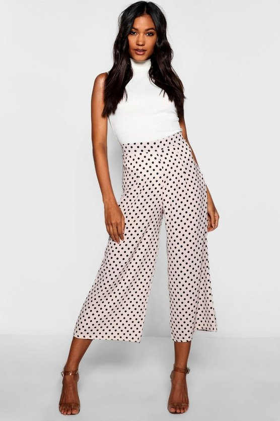 Womens Nude Polka Dot Woven Wide Leg Trousers