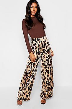 Satin Leopard Print Wide Leg Pants