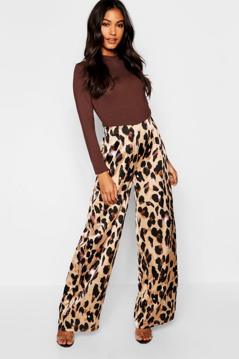 7fb271ab7147 Womens Stone Satin Leopard Print Wide Leg Pants