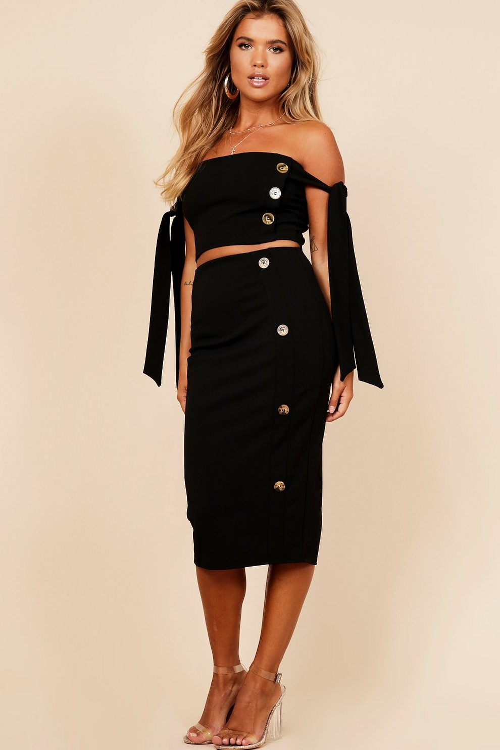 b20f7e13ea0d Womens Black Button Detail Midi Skirt