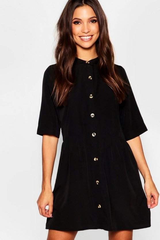 Round Neck Horn Button Oversized Shirt Dress