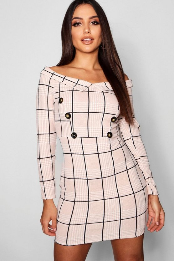 Womens Taupe Off The Shoulder Tonal Check Button Dress