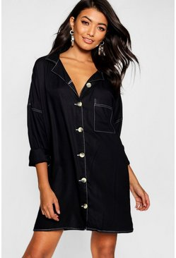 Womens Black Contrast Stitch Horn Button Shirt Dress