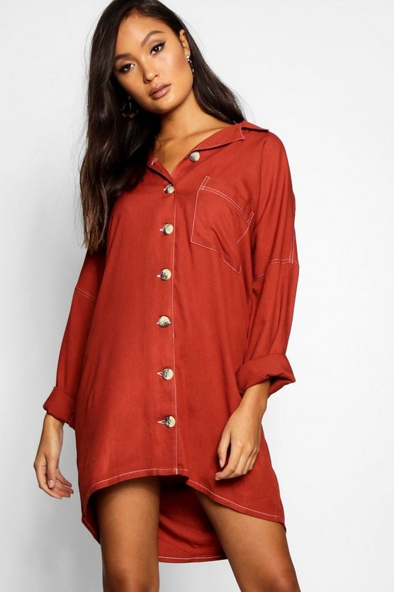 Contrast Stitch Horn Button Shirt Dress
