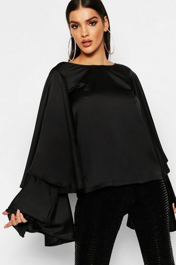 Womens Black Satin Exaggerated Tiered Sleeve Top
