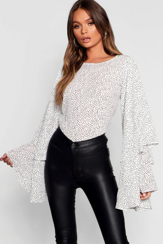 Spot Print Exaggerated Sleeve Top
