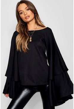 Womens Black Exaggerated Woven Tiered Sleeve Top