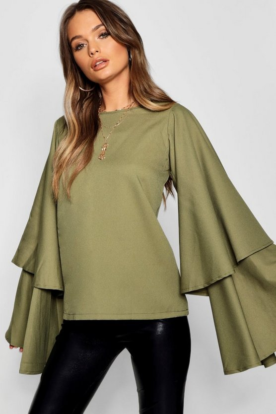 Exaggerated Woven Tiered Sleeve Top