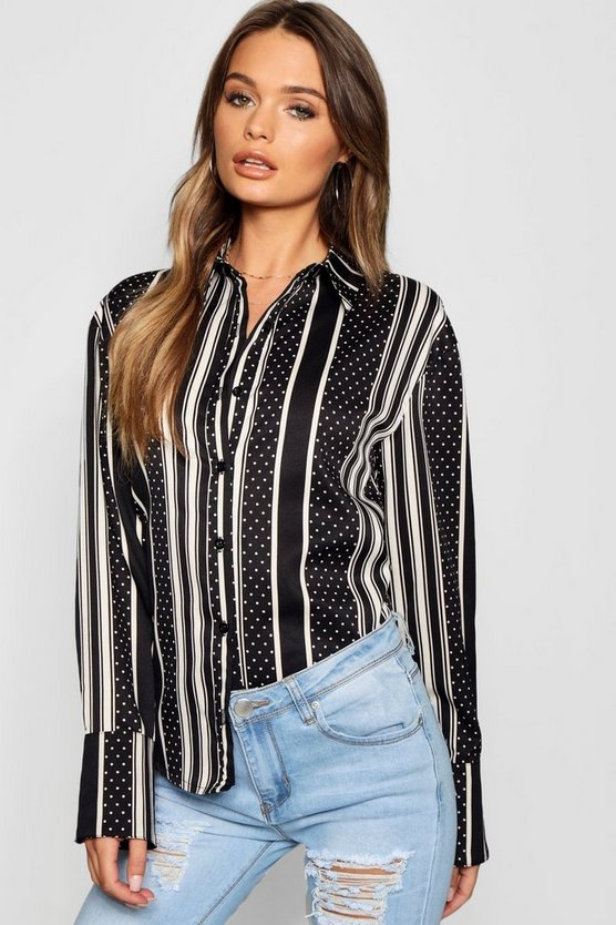 Stripe And Spot Print Shirt
