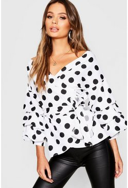 Womens Spot Print Ruffle Tiered Sleeve Wrap Blouse