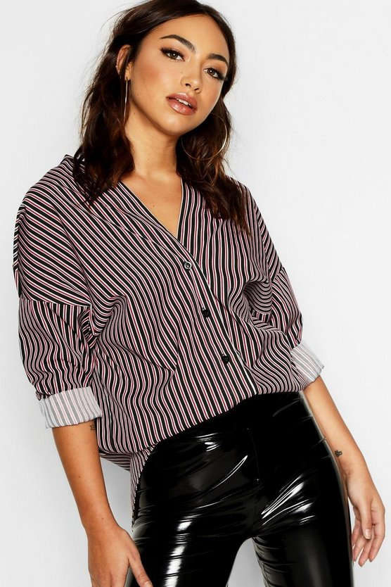 Stripe Collarless Shirt