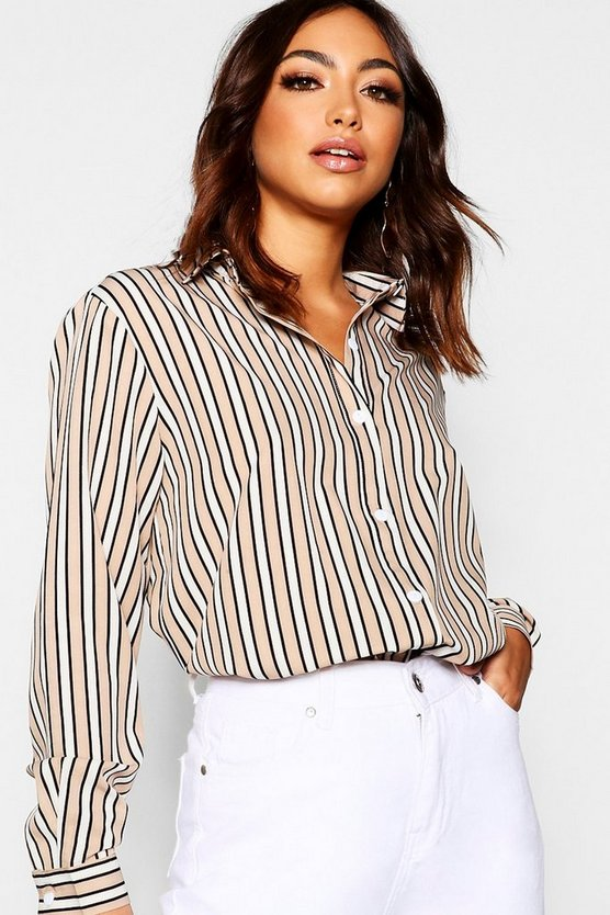 Stone Stripe Oversized Shirt