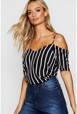 Womens Black Stripe Woven Cold Shoulder Cami