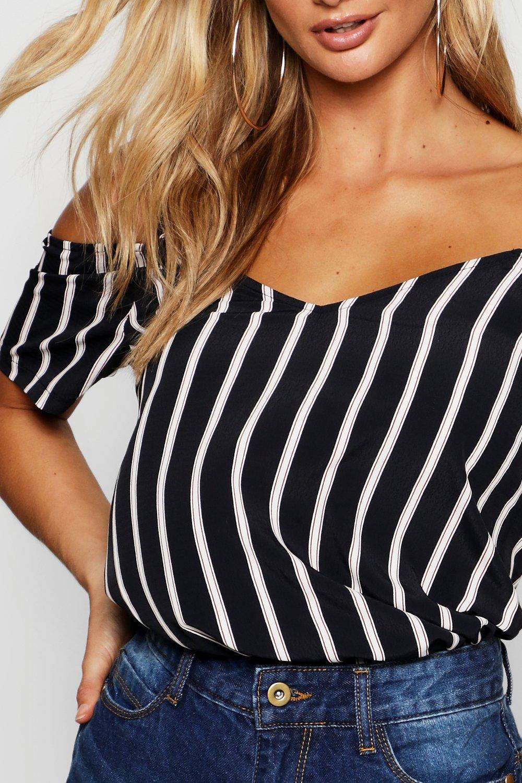Shoulder Woven black Stripe Open Cami cw1HEqHYO