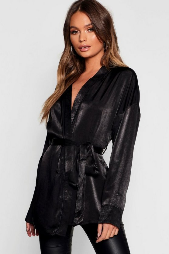 Matt Satin Tie Waist Wrap Blouse