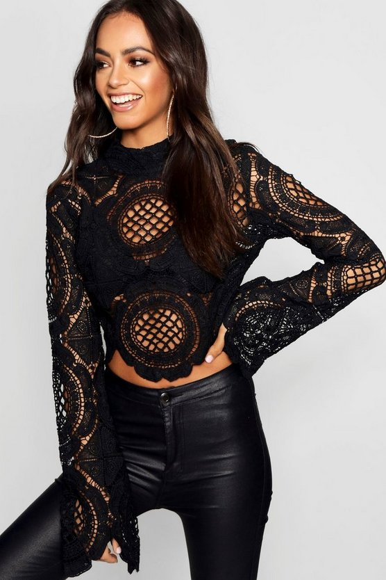Turtle Neck Crochet Lace Crop