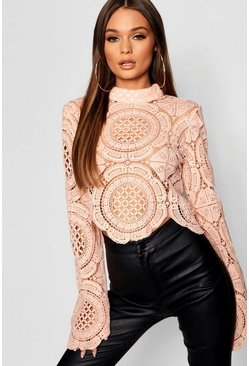 Womens Nude Turtle Neck Crochet Lace Crop