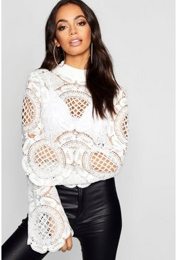 White Turtle Neck Crochet Lace Crop