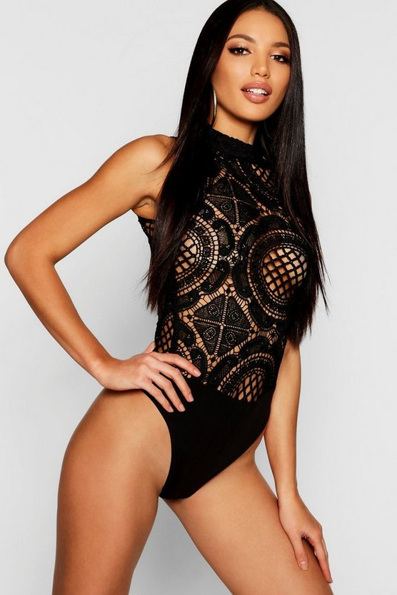 Womens Black High Neck Crochet Lace Bodysuit